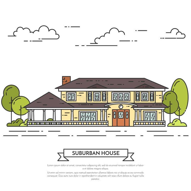 Paesaggio del sobborgo con la casa separata privata, iarda su fondo bianco illustrazione di stock