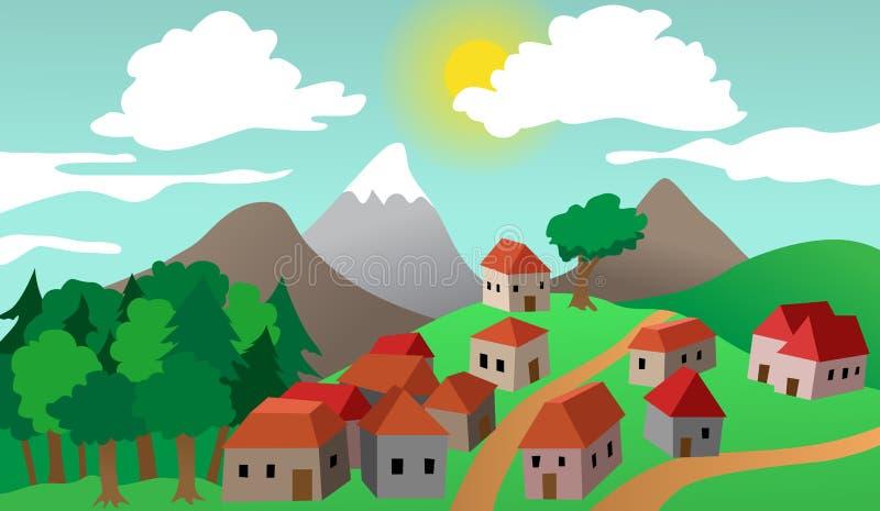 Paesaggio del sobborgo della città o del villaggio illustrazione di stock