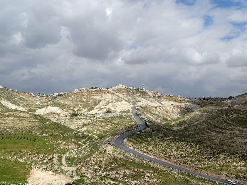 Paesaggio del territorio palestinese in un vasto panorama immagine stock