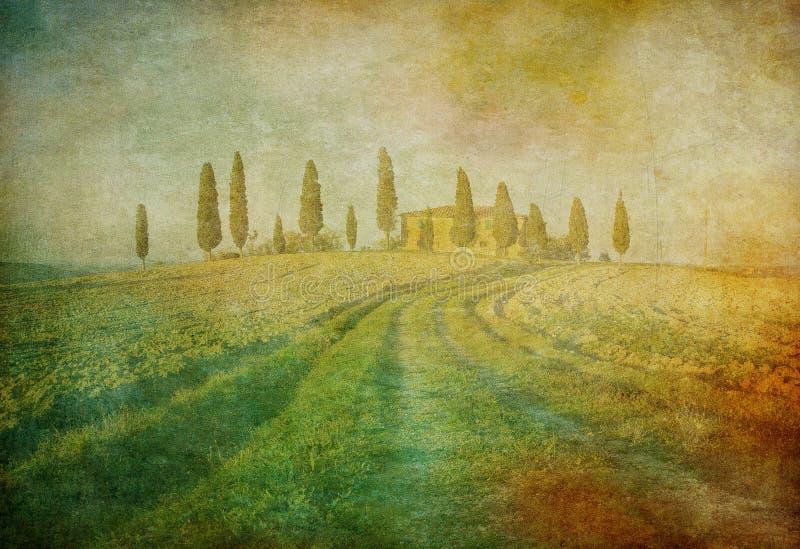 Paesaggio del Toscano dell'annata immagini stock