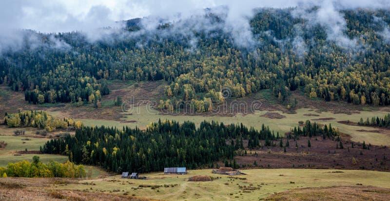 Paesaggio del villaggio di Hemu dello Xinjiang fotografia stock libera da diritti