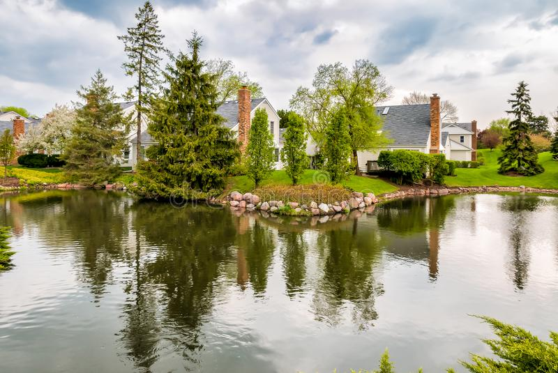 Paesaggio del villaggio di Northbrook, U.S.A. immagini stock libere da diritti