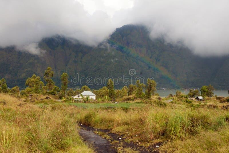 Paesaggio del vulcano di Batur e del lago Batur fotografia stock