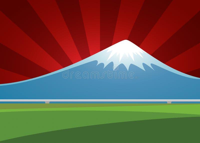 Paesaggio del vulcano di Fuji sullo sprazzo di sole del fondo illustrazione vettoriale