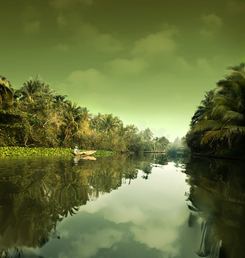 Paesaggio dell'acqua. La Tailandia fotografia stock libera da diritti