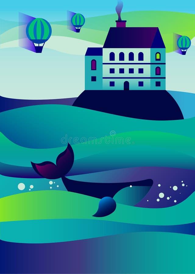 Paesaggio dell'acqua Onda del mare royalty illustrazione gratis