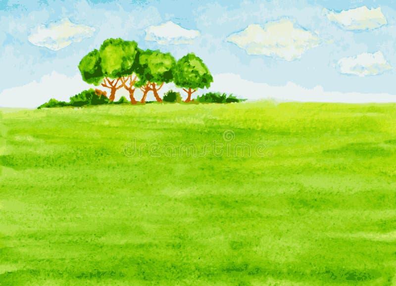 Paesaggio dell'acquerello con gli alberi, il campo verde ed il cielo illustrazione di stock