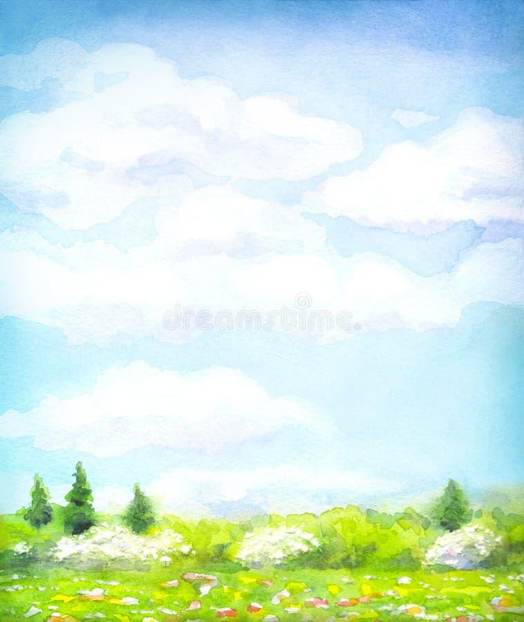 Paesaggio dell'acquerello della serie di immagini stock