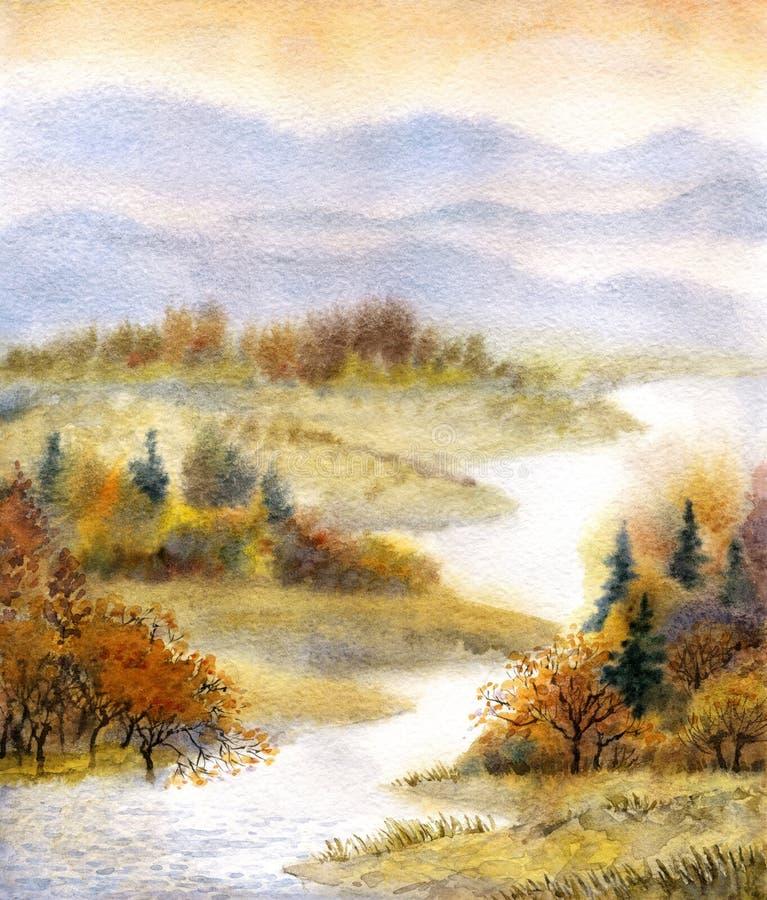 Paesaggio dell'acquerello Fiume nella foresta di autunno illustrazione di stock