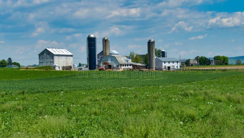 Paesaggio dell'azienda agricola di Amish un giorno soleggiato immagini stock libere da diritti