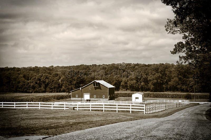 Paesaggio dell'azienda agricola in Indiana immagine stock libera da diritti
