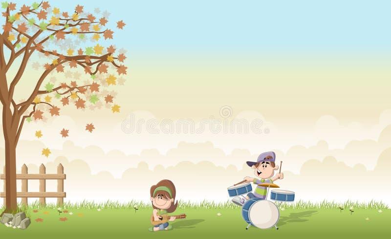 Paesaggio dell'erba verde con il ragazzo sveglio e la ragazza del fumetto che giocano musica su una banda illustrazione vettoriale