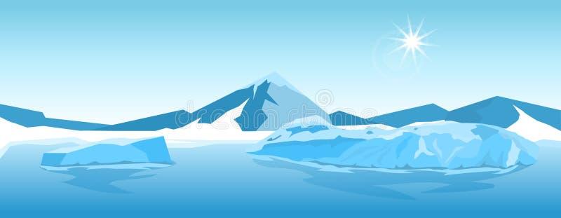 Paesaggio dell'iceberg di vettore illustrazione vettoriale