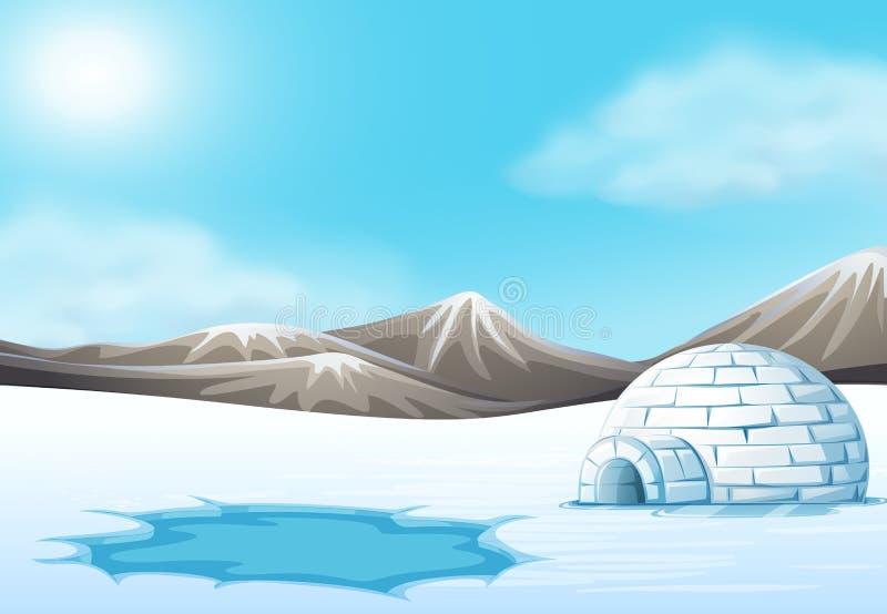 Paesaggio dell'iglù e del polo nord illustrazione vettoriale