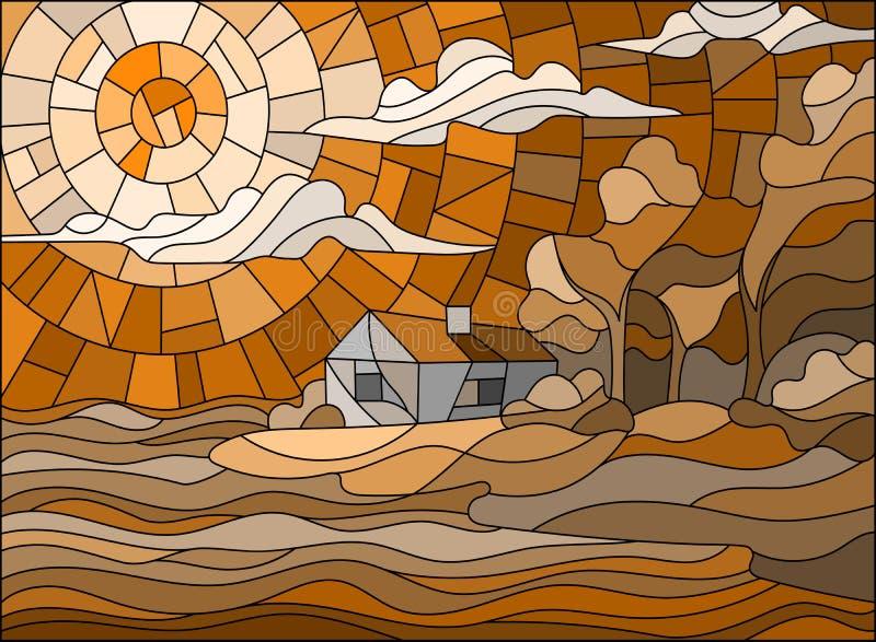 Paesaggio dell'illustrazione del vetro macchiato con una casa sola su un fondo del cielo e del mare, tono marrone, seppia royalty illustrazione gratis