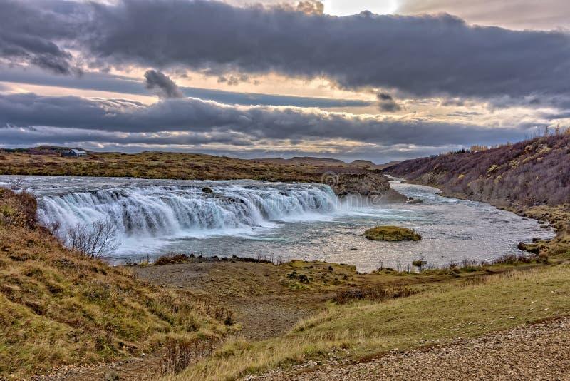 Paesaggio dell'islandese di Faxi Waterfal immagine stock
