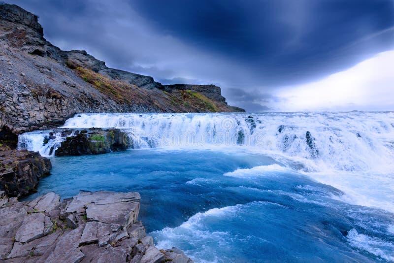Paesaggio dell'islandese di Gullfoss Waterfal immagini stock libere da diritti