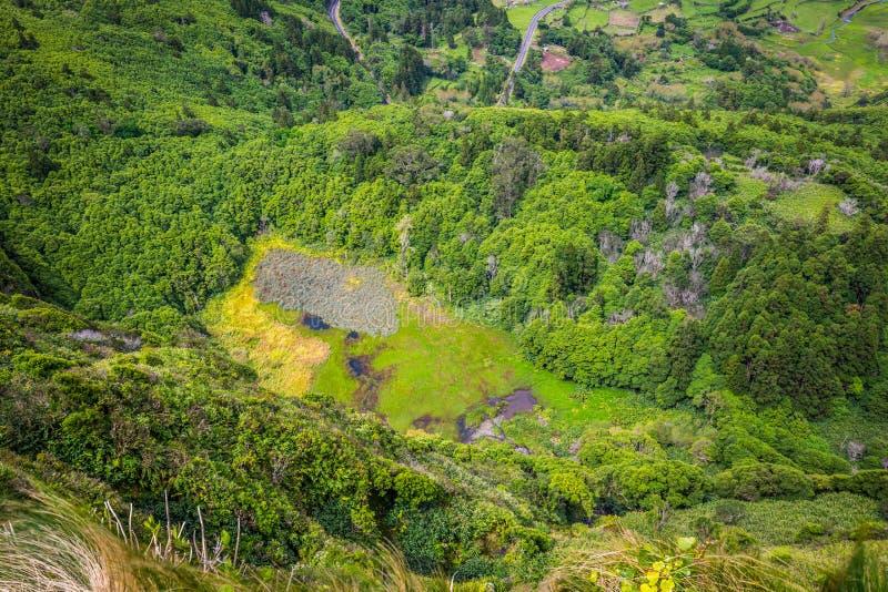 Paesaggio dell'isola del Flores Le Azzorre, Portogallo immagini stock libere da diritti
