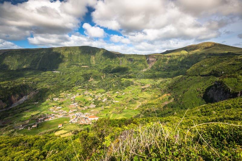 Paesaggio dell'isola del Flores Le Azzorre, Portogallo immagini stock