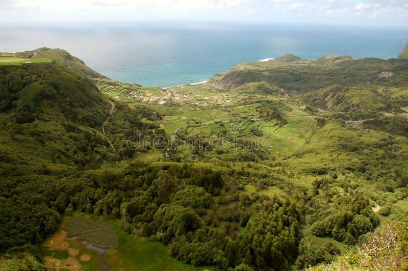 Paesaggio dell'isola del Flores Le Azzorre, Portogallo fotografia stock