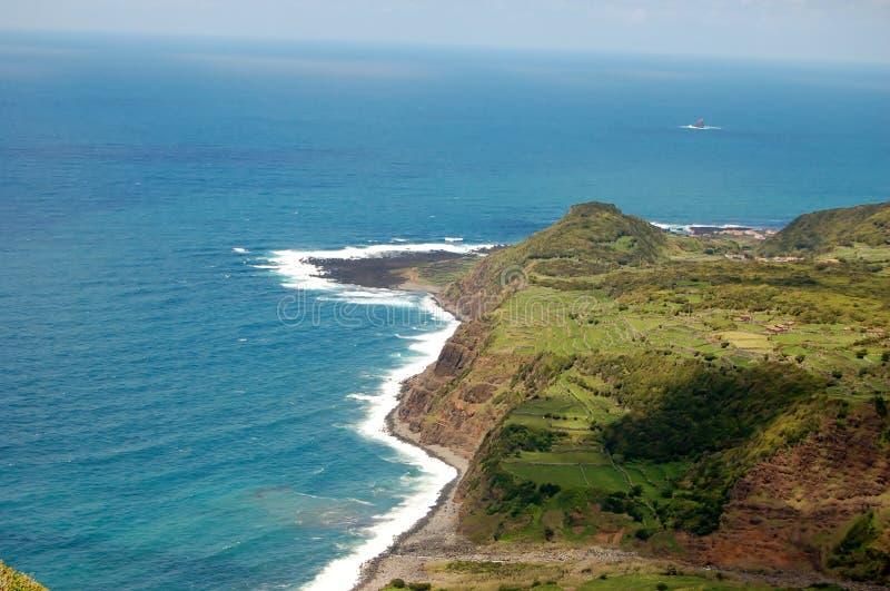 Paesaggio dell'isola del Flores Le Azzorre, Portogallo fotografie stock libere da diritti
