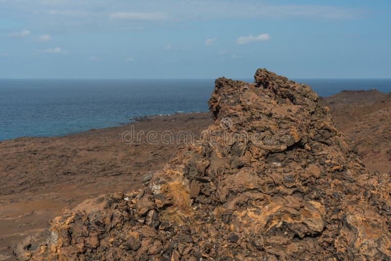 Paesaggio dell'isola vulcanica, Bartolome, isole Galapagos, Ecuador immagini stock