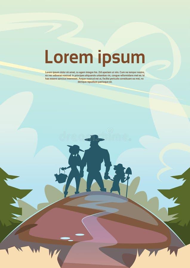 Paesaggio della campagna del terreno coltivabile della famiglia degli agricoltori della siluetta illustrazione di stock