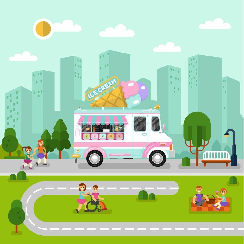 Paesaggio della città con il furgone del gelato fotografia stock libera da diritti