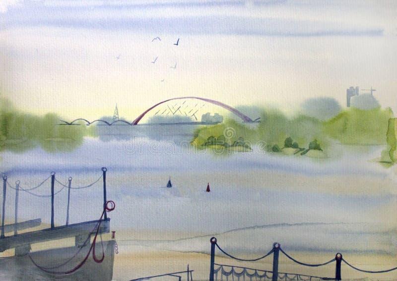 Paesaggio della città con un trasporto del fiume, dell'argine e dell'acqua, pittura dell'acquerello Paesaggio di Novosibirsk, vis royalty illustrazione gratis