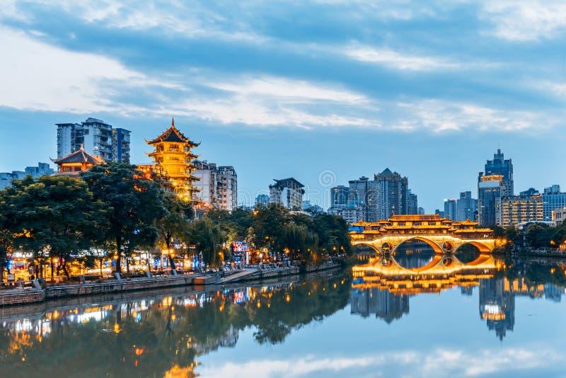 Paesaggio della città del ponte di Anshun, Chengdu, Sichuan, Cina immagine stock libera da diritti