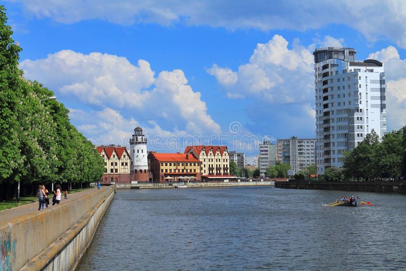 Paesaggio della città nella città di Kaliningrad fotografia stock libera da diritti