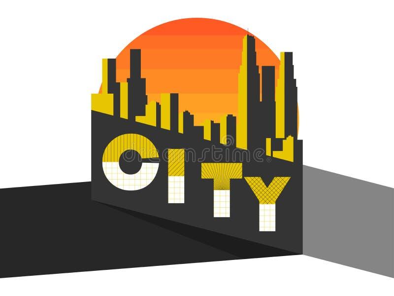 Paesaggio della città su una città moderna Grattacieli, panorama Stile di Bauhaus e di avanguardia Costruzioni contro lo sfondo d royalty illustrazione gratis