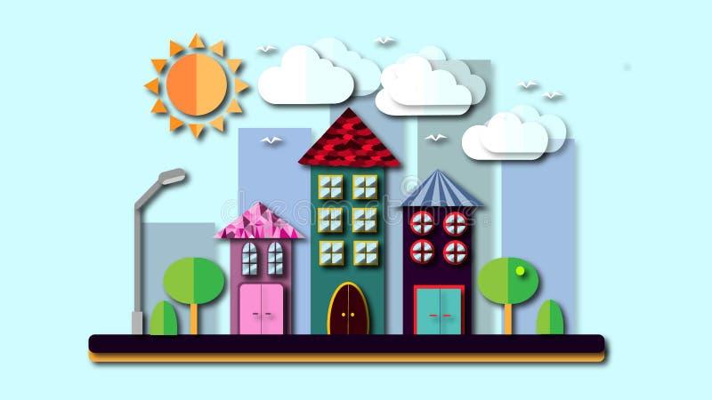 Paesaggio della città in uno stile piano con le ombre La città con le case con il tetto pendente e le varie belle mattonelle con  illustrazione di stock
