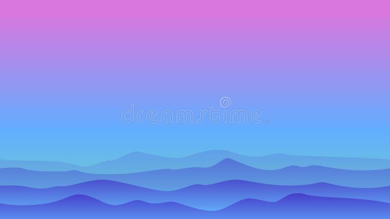 Paesaggio della collina con cielo blu illustrazione vettoriale