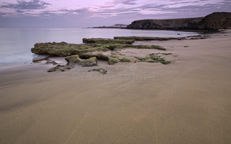 Paesaggio della costa di Nigth fotografia stock