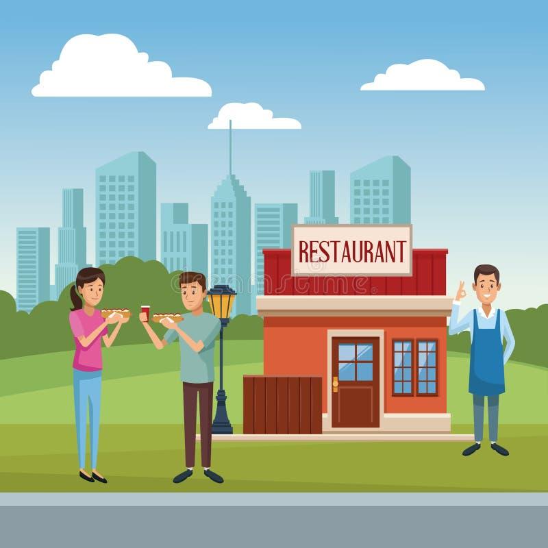 Paesaggio della costruzione del ristorante royalty illustrazione gratis