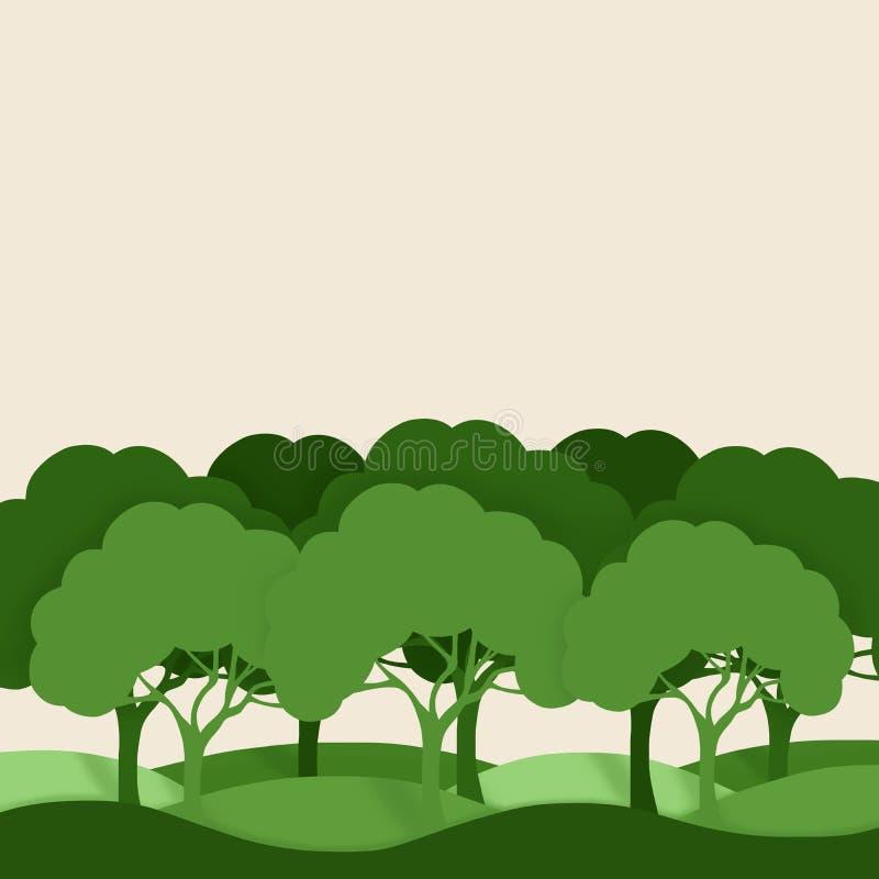 Paesaggio della foresta Siluette degli alberi su un fondo pastello illustrazione vettoriale