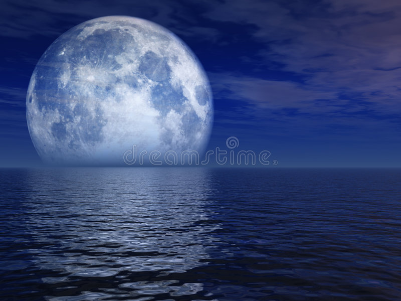 Paesaggio della luna blu di notte fotografia stock