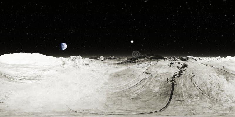 paesaggio della luna da 360 gradi, proiezione equirectangular, mappa dell'ambiente Panorama sferico di HDRI Fondo dello spazio illustrazione vettoriale