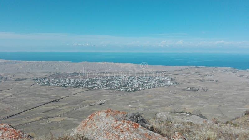 Paesaggio della montagna in Bokonbayevo nel Kirghizistan 3 immagine stock libera da diritti