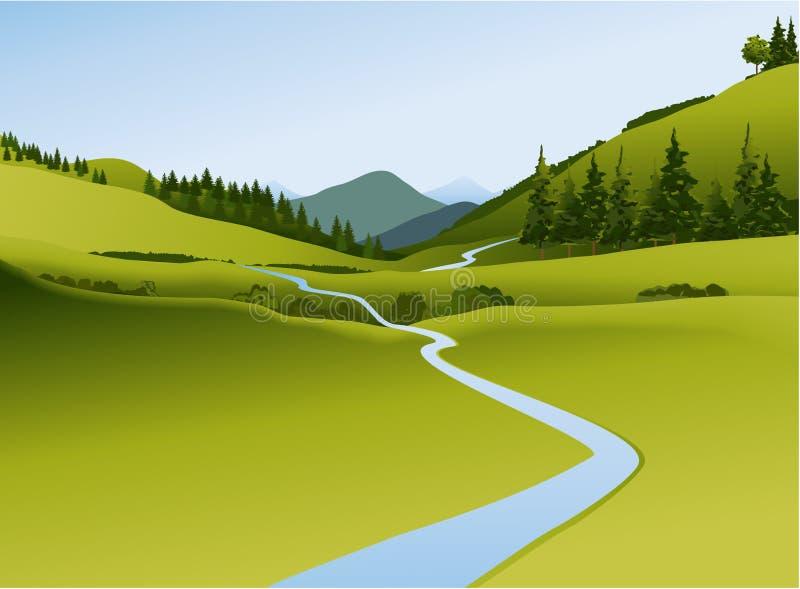 Paesaggio della montagna con il fiume illustrazione di stock