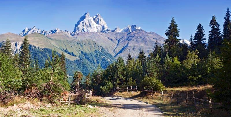 Paesaggio della montagna con la cima di Ushba immagini stock