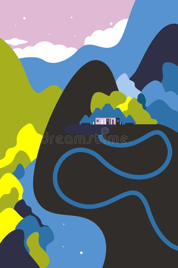 Paesaggio della montagna con una casa Colline, fiume, cielo con le nuvole Turismo e ricreazione illustrazione vettoriale