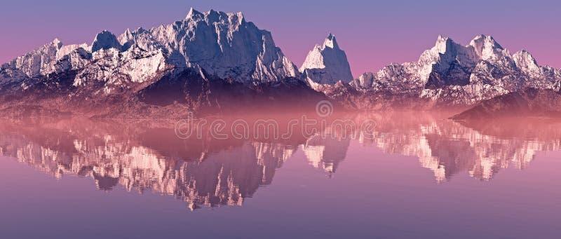 Paesaggio della montagna dei picchi della neve con il lago nebbioso ad alba illustrazione di stock
