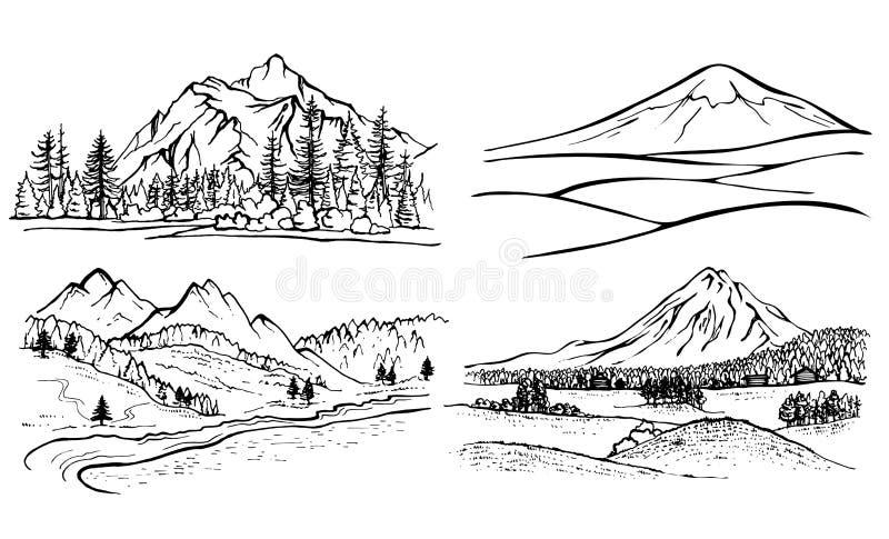 Paesaggio della montagna del disegno a matita pini della for Semplice disegno del piano casa