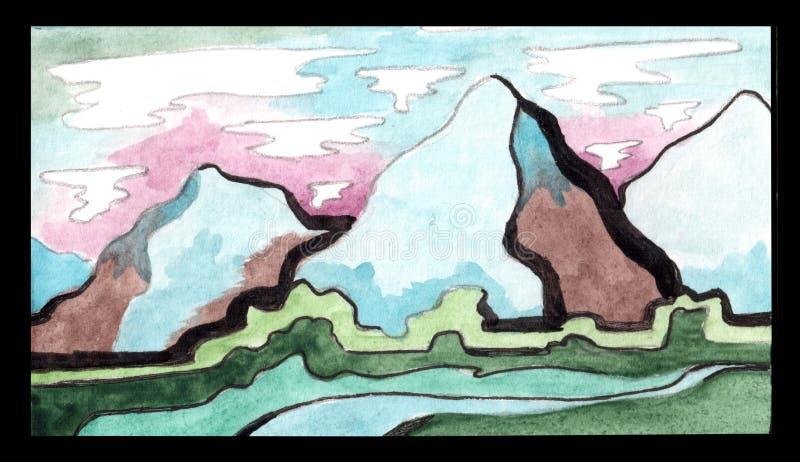 Paesaggio della montagna dell'acquerello illustrazione di stock