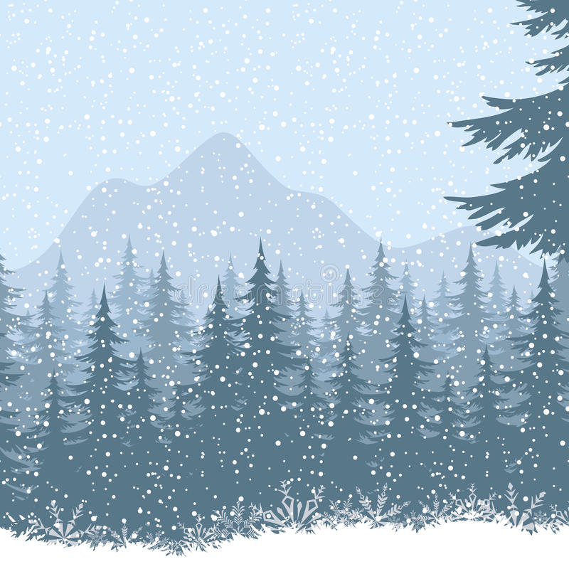 Paesaggio della montagna di inverno con gli abeti illustrazione di stock