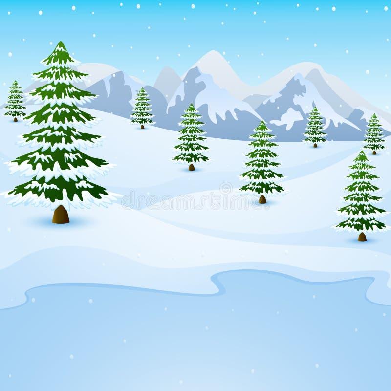Paesaggio della montagna di inverno con gli abeti ed il lago congelato illustrazione vettoriale