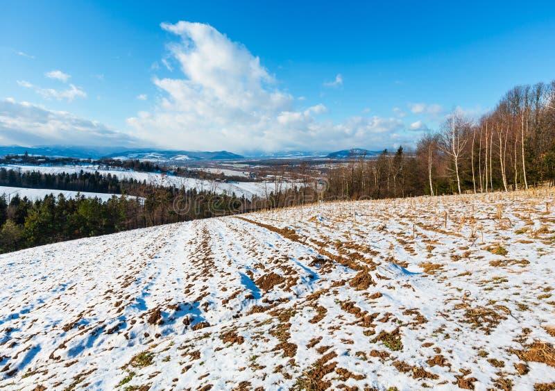 Paesaggio della montagna di inverno con il campo, il boschetto ed il villaggio dentro lontano fotografia stock