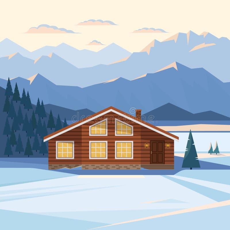 Paesaggio della montagna di inverno con la casa di legno, chalet, neve, picchi di montagna illuminati, collina, foresta, fiume, a illustrazione vettoriale